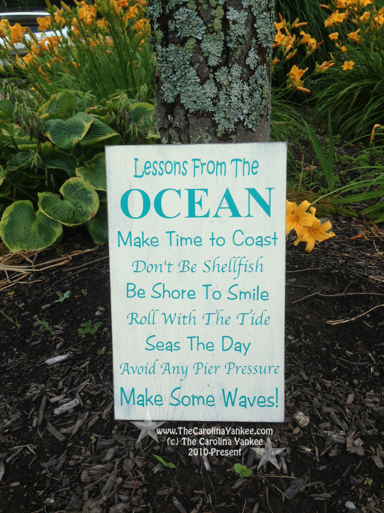 lessons from the ocean home decor wood board 9x13 wall hanging